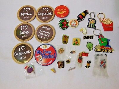 Large LOT OF 28 RARE McDONALDS PINS BUTTONS KEYCHAINS Some Vintage