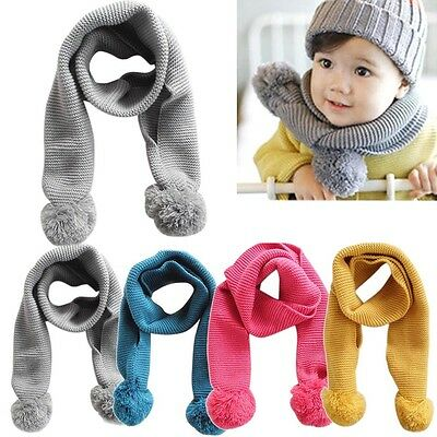 Baby Neckerchief Winter Warm Solid Color Scarves Boys Girl Kids Knitted Scarf US