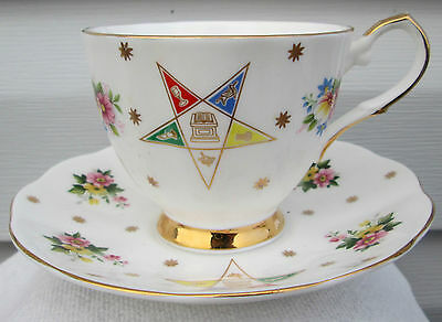 Vintage Elizabethan Bone China Masonic Order Of The Eastern Star Cup & Saucer