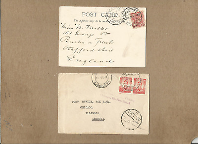 Rhodesia-S.rhodesia,fine Pair Of 1905 Card And 1947 Taxed Cover To England & Us
