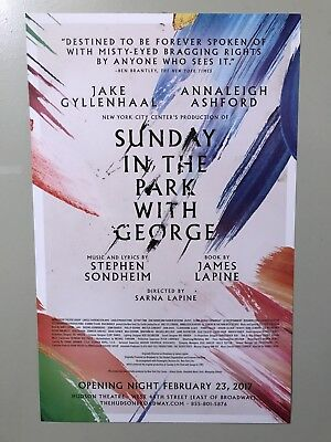"""""""Sunday In The Park With George"""" Broadway Window Card (New!) Opening Night!"""