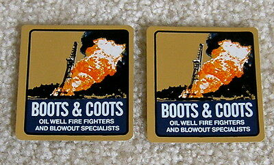 Boots & Coots - 2 Decals - Hard Hat Stickers - Oil Field Gas Well Fire Fighters