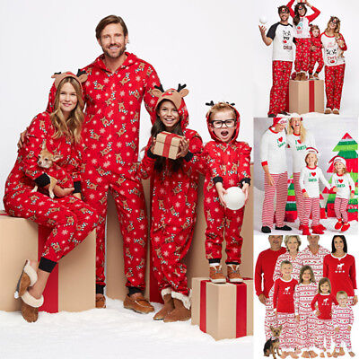 Family Matching Pajamas Adult Kids Women Christmas Sleepwear Nightwear Pyjamas
