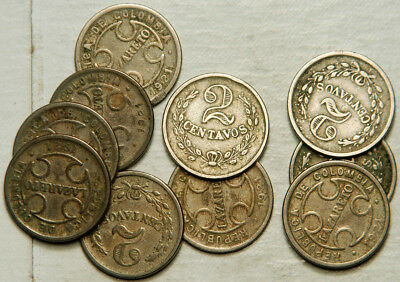 Colombia Lot Of 10 (Ten) 2 Centavos 1921 (Leper Colony)