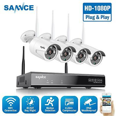 SANNCE Wireless 4CH 1080P NVR 4x 720P WIFI Camera Outdoor Home Security System