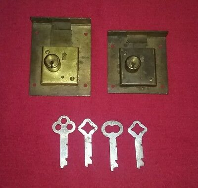 Vtg Antique Eagle Cabinet Locks Desk Drawer Furniture File Door latch Key brass