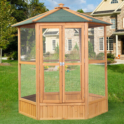 Wooden Heavy Duty Bird Cage Parrot Walk In Aviary Play Top LARGE Pet House  New