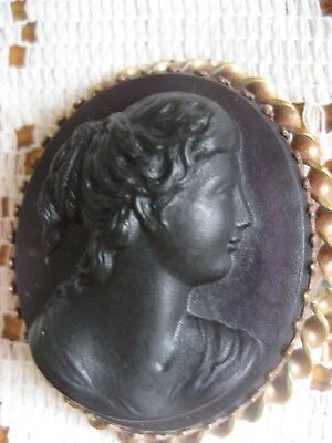 Antique Victorian Amethyst Glass Cameo lovely c 1880's piece