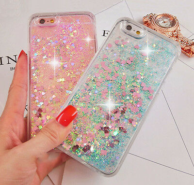 Luxury Glitter Hearts Liquid Back Phone Case Cover for iphone XS Max 5/SE/6s+/7