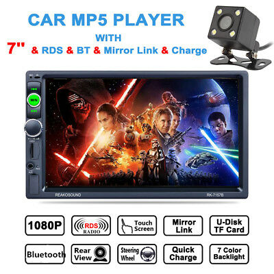 "7"" HD Double 2DIN Bluetooth Touch Screen Car Radio Stereo MP5 MP3 Player +Camera"