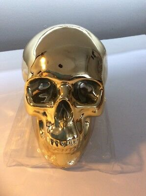 Day Of The Dead Gold Skull Money Box New With Marks From Storage x 3 Halloween