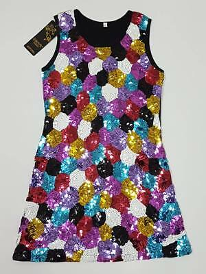 Girl Short Party Sequin Pageant Dress Birthday Wedding Size 12 DA241 Rainbow
