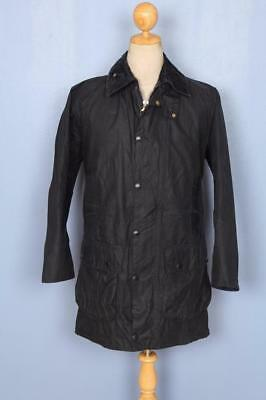 Mens BARBOUR Border WAXED Jacket Navy Size 34