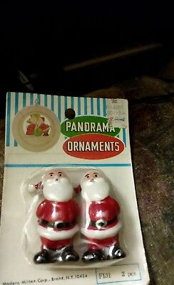 Vintage New Walco 1973 Panorama Ornaments Christmas 2 Santa in a package