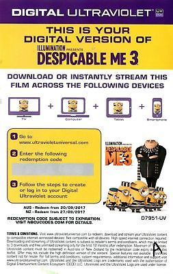 DESPICABLE ME 3 Digital Ultraviolet (UV) Code ONLY NOT A DVD or Blu Ray