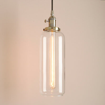 Pathson Industrial Vintage Brass Cylinder Glass Shade Pendant Light Ceiling Lamp