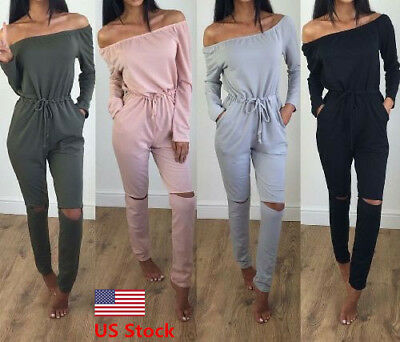 US Women's Off Shoulder Playsuit Bodycon Long Sleeve Jumpsuit Romper Trousers