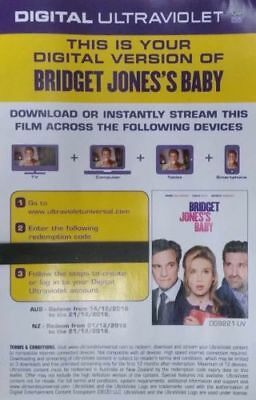 BRIDGET JONES'S BABY (MOVIE 3)  Ultraviolet (UV) Code ONLY NOT A DVD