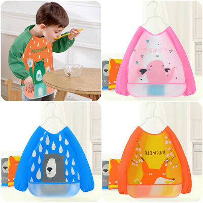 Baby Kid EVA Long Sleeve Feeding Bibs Waterproof Saliva Burp Smock Apron Bandana