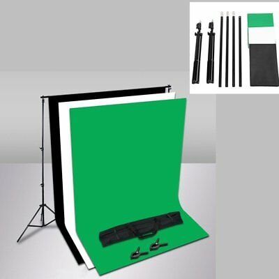 Photography Studio Black + White +Green Backdrop Background Stand Kit Set Studio