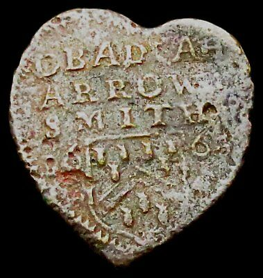 T217: 1668 HEART Shaped Halfpenny : Obadiah Arrowsmith, Cirencester (Glos.45)