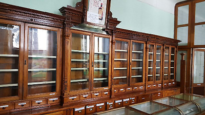 Original 1930s Vintage Wood Pharmacy Apothecary Showcase Display Cabinet Furnitu