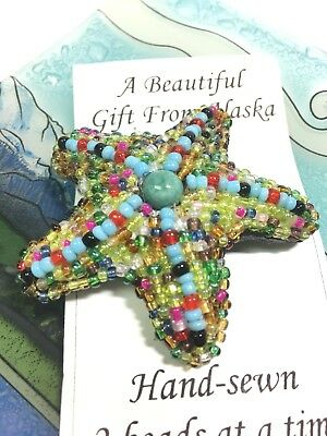 Handbeaded Multi-colored Bright Vibrant Starfish Pin Brooch Alaska Souvenir