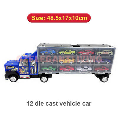 Kids Friction Power Toy 48cm Big Truck Transporter Van with 12 Vehicle Cars
