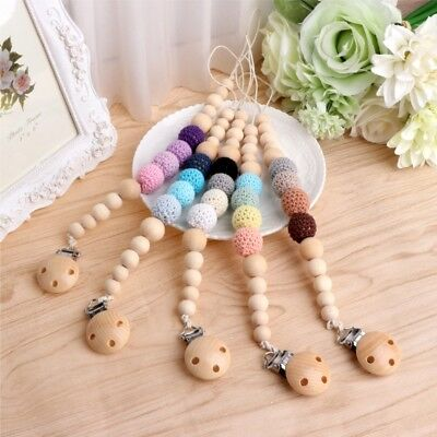 Baby Infant Toddler Wood Dummy Chain Pacifier Soother Nipple Shield Clip Holder