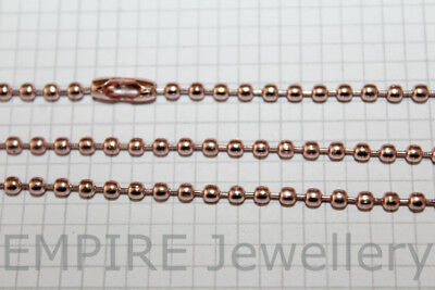 "3 x Pink Rose Gold Tone Ball Chain Necklaces 2.0mm Diam Approx 68cm 26"" Long"