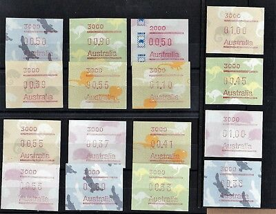 Australia, Mixed Lot Of 16 Frama Labels.  Unmounted Mint. Platypus, Echidna Roos