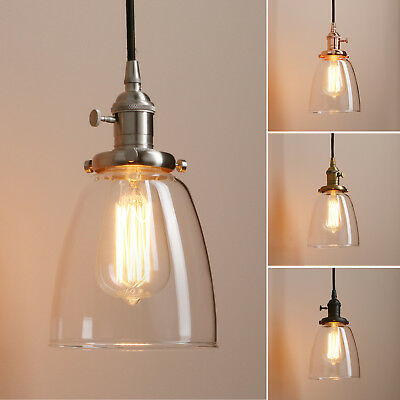 Modern Industrial Ceiling Lamp Cafe Pendant Light Glass Shade Lighting Fixture