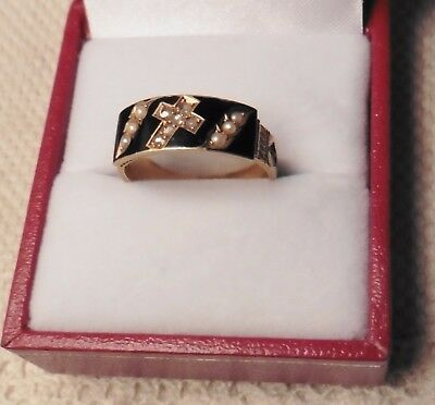 Beautiful Diamond And Pearl Mourning Ring - Chester 1900