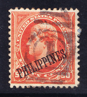 USA opt PHILIPPINES 1899 SG263a 50c red-orange - good to fine used. Cat £70
