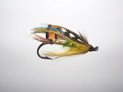 Vintage Large Salmon Fishing Fly Old Tackle Circa 1920 Flies Black Japanned Hook