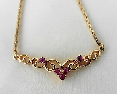 Vintage Ruby Necklace - 9ct Gold.