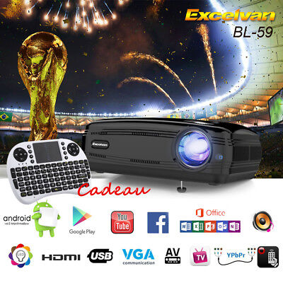 Excelvan Android 3200LM Projector 1080P WiFi Bluetooth 1Go+8Go 3D ATV Projecteur