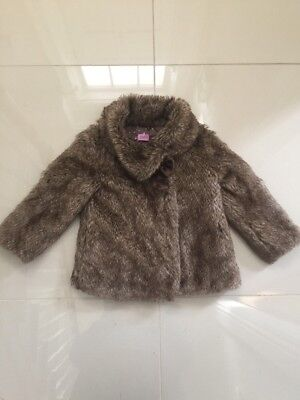 Girls Brown Fur Coat Age 2-3 Years