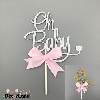 Glitter Gold/ Silver 'Oh Baby' Baby Shower Cake Topper Pink Bow Baby Girl Shower