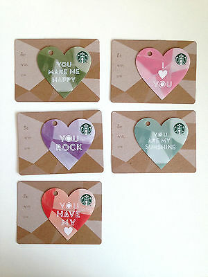Starbucks Valentine's Day Thailand Collection 2015 Set Of FIVE Cards Gift Card