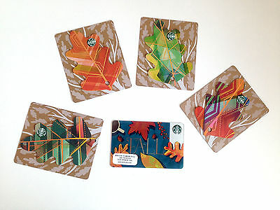 Starbucks Autumn Fall Leaves Korea Collection 2016 Set Of FIVE Cards Gift Card