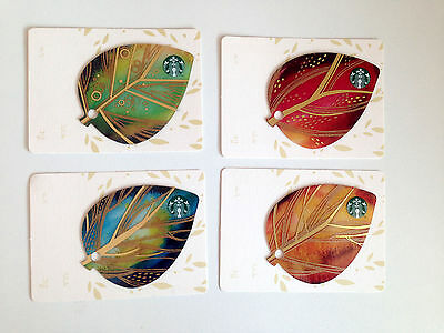 Starbucks Autumn Fall Leaves Thailand Collection 2015 Set Of FOUR Gift Cards