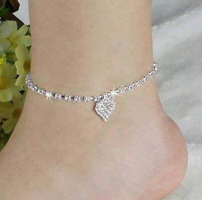 new  Women Crystal Rhinestone Love Heart Anklet Ankle Bracelet Chain Jewelry HK