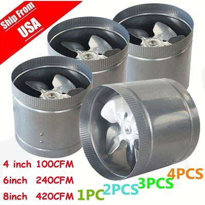 """LOT 4 X 4"""" 6"""" 8"""" inch Inline Duct Booster Fan Ventilation Exhaust Air Blower MX"""