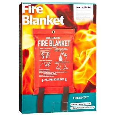 Fire Sentry FIRE BLANKET 1x1m Retards Flames, Handy Hanging Pouch