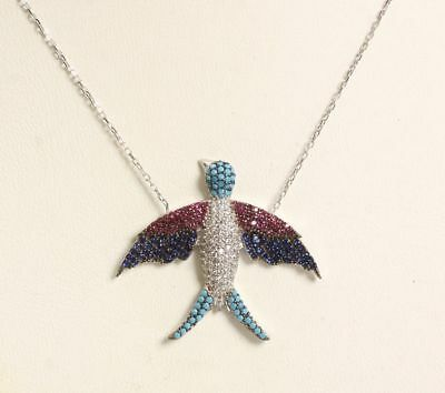 Turkish Handmade  925 Sterling Silver Jewelry Ladie's Turquoise Bird Necklace