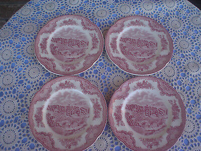 Johnson Bros Old Britain Castles Haddon Hall 4 Side Plates Pink Colourway