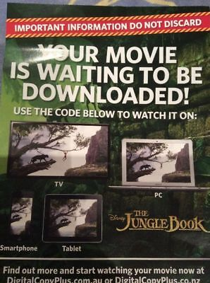 JUNGLE BOOK HD LIVE VERSION 2016 DISNEY Digital UV Code NOT A DVD OR Blu Ray