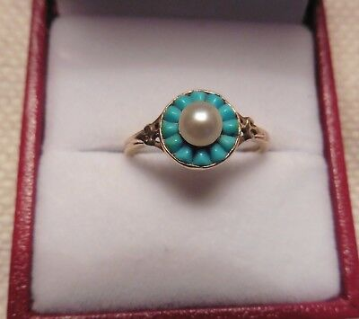 18ct Edwardian Turqoise And Pearl Ring