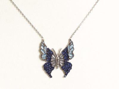 Butterfly Turkish Handmade 925 Sterling Silver Jewelry Sapphire Ladie's Necklace